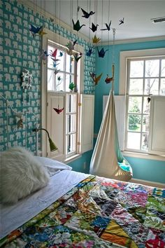 Awesome bedroom (waaay too colorful for now, but still pretty)