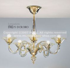chandelier at five lights with gold decoration