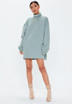 f5f34c9d884 Missguided - Grey Roll Neck Embroidered Sweater Dress