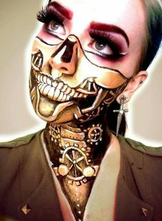 Mechanical skull makeup. I like her dagger earrings too.