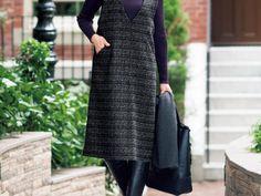 簡単!Vネックラインのジャンパースカートの作り方|ぬくもり Diy Fashion, Womens Fashion, Pattern Cutting, Baby Patterns, High Neck Dress, Sewing, Dresses, Modeling, Clothing Patterns