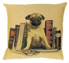 jacquard woven belgian tapestry throw pillow cushion cover pug with antique library books - PC-5105