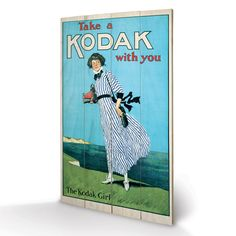 ACHICA | Wooden Art Panels - Kodak Girl, Wooden Panel Print, 45 x 76 cm