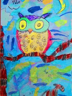 How precious is this owl??? Created by one of my 2nd graders - using crayon resist with watercolor and salt.