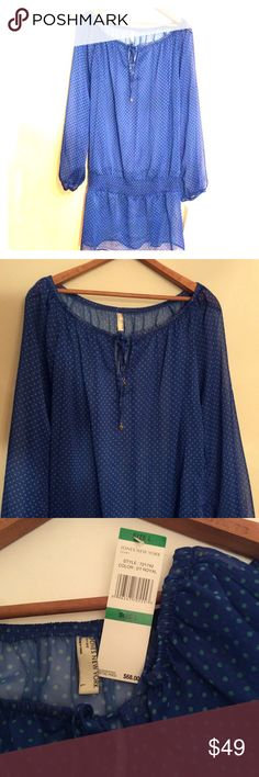 """JONES NY🔹SHEER DOTTED TUNIC🔹NEW WITH TAGS Jones New York Sport, long sheer tunic. Beautiful color combination of royal blue with kelly green dots. Armpit to armpit measures 22"""". Length 35"""".  Elasticized smocking just below waist. Size large. Works wonderfully for all seasons with leggings or skinny pants. SUGGESTED USER, FAST SHIPPER. Jones New York Tops Tunics"""