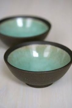 C's projects: small mint green bowls (use the dark clay at the studio, and burnish it, and glaze the inside Pottery Bowls, Ceramic Pottery, Pottery Art, Thrown Pottery, Pottery Wheel, Green Bowl, Mint Green, Ceramic Clay, Ceramic Bowls