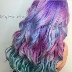 Beautiful Mermaid Hair by Cute Hair Colors, Hair Color Purple, Hair Dye Colors, Cool Hair Color, Pelo Multicolor, Unicorn Hair, Dye My Hair, Aesthetic Hair, Mermaid Hair