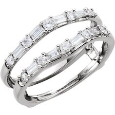 Round Baguette 1/2c Diamonds Ring Guard Wrap Solitaire Enhancer 14k White Gold in Jewelry & Watches | eBay