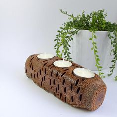 Wooden candle holder candle holder rustic ornament
