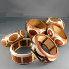 Wooden cuff bracelets by MoonHill Wood Art. Wood Turning Lathe, Wood Turning Projects, Wood Lathe, Wood Projects, Woodworking Projects, How To Make Rings, Wood Creations, Wood Rings, Wooden Bowls