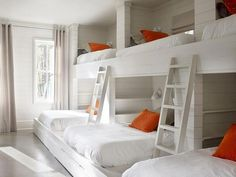 bunk room features a shiplap walls lined with a wall of three side Love the ship lap and the simple yet very space accommodating design for bunk room.Love the ship lap and the simple yet very space accommodating design for bunk room. Bunk Bed Rooms, Bunk Beds Built In, Kids Bunk Beds, Queen Bunk Beds, Corner Bunk Beds, L Shaped Bunk Beds, Triple Bunk Beds, Bunk Beds With Stairs, Country Boys Rooms