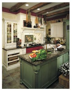 love the beams, the island and the red Aga