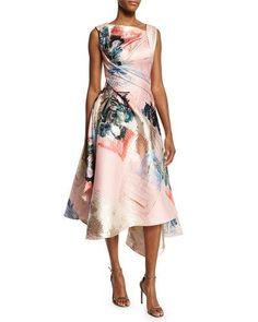 Rubin Singer ~ ~ Sleeveless Graffiti-Print Draped Dress, Pink Multi abstract |||  Neiman Marcus