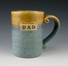 Handmade DAD pottery mug - 16 oz personalized glazed in creamy tan and blue - made to order. $22 on Etsy.
