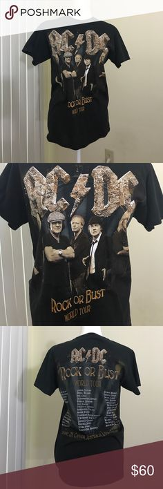 AC/DC Rock or Bust Tour 2015 Small Concert Shirt Worn twice. AC/DC concert tour t shirt from their rock or bust tour from 2015. Like new condition. acdc Tops Tees - Short Sleeve