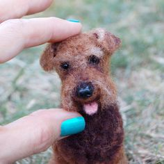 Needle felted miniature Welsh Terrier by Facci Designs. Custom Dog Portraits available