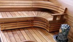 Erilainen laudemalli. Sun Sauna Elegance. Materiaalit, 120 mm tervaleppä, lämpöhaapa tai lämpöleppä.