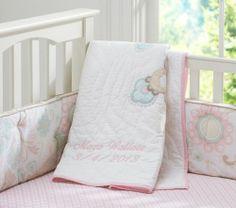 Girls Pottery Barn Maya Toddler Baby Crib Quilt Pink Turquoise Tan New | eBay