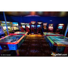 Game Room at the Hard Rock Hotel At Universal Orlando Resort  ... ❤ liked on Polyvore featuring home, home decor, house, rooms, casas and other