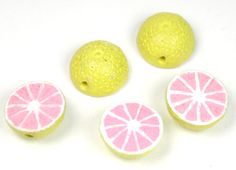 Ceramic Grapefruit or Pink Lemonade Bead $.50 from abeadstore.com