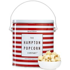 Hampton Popcorn White Truffle Parmesan Popcorn Tin (€22) ❤ liked on Polyvore featuring home, kitchen & dining, serveware and white serveware