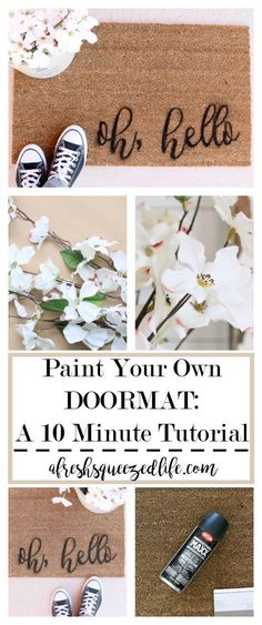 diy apartment Are you looking for a quick and fun tutorial Let me show you how to paint your own doormat in about 10 minutes. Its a fun pick-me-up for your front door! PAINT YOUR OWN DOORMAT IN 10 MINUTES Diy Home Decor Projects, Decor Crafts, Home Crafts, House Projects, Front Door Rugs, Painted Front Doors, Front Porch, Apartment Decorating For Couples, Diy Apartment Decor