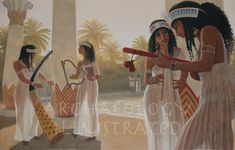 Egyptian Musicians at a Banquet, century BC @ Bible Illustrations, Biblical Sermon Illustrations, Christian Pictures Ancient Egyptian Clothing, Ancient Egyptian Costume, Ancient Egypt Fashion, Ancient Egypt Art, Egyptian Fashion, Egyptian Art, Ancient History, Ancient Aliens, Ancient Egyptian Women