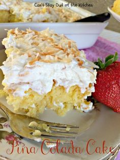 Pina Colada Cake - I'd probably add a thin layer of drained crushed pinapple to the top before covering with cool whip. Poke Cake Recipes, Poke Cakes, Cake Frosting Recipe, Frosting Recipes, Fun Desserts, Delicious Desserts, Dessert Recipes, Sweets Cake, Cupcake Cakes