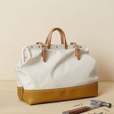 Could be used for Fashion or as a girl's classic mason (tool) bag. The Heritage Leather Reinforced Mason Bag #WestElm
