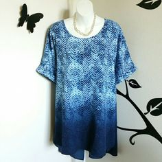 "Blue Ombre Print Fly Away Blouse This blue blouse has a pretty ombre print with blue, white, and navy throughout. It has a keyhole opening in back, short cuffed sleeves, a slight hi-lo hem, and also in back is a fly away bottom split hem. Material is polyester.  Size: 1X - 18W/20W - Runs big. Bust: Approximately 56"" Length: Approximately 30"" Shortest Hem Length: Approximately 33.5"" Longest Hem  New without tags.  $$ FINAL PRICE Catherines  Tops Blouses"