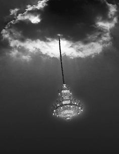 """A Photomontage by Scott Mutter -- """"Untitled (Chandelier)"""" - Surrational Images The light of the heavens is the light that shines on all below."""" Scott Mutter chose this exhibition for the debut of """"Chandelier"""". It was presented here for the first time in Photomontage, Black White Photos, Black And White Photography, Night Circus, Perfect World, Creative Photos, Photo Manipulation, Fine Art Photography, Creative Photography"""