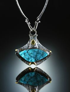 Druzy Chrysocolla Centerpiece. Fabricated Sterling Silver & 18k. www.amybuettner.com