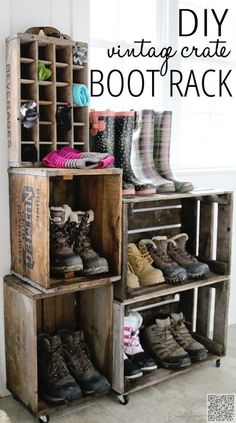 13. DIY Crate Boot and Shoe Rack - 29 #Vintage Storage #Ideas to Add a Unique #Touch to Your Home ... → DIY #Crate