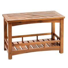 Our sturdy wooden bench is full of style and function. With a slatted acacia design, it offers seating and storage in one.