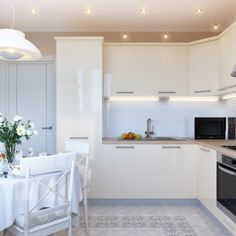 Kitchen : White Gloss Modern L Shaped Kitchen Cabinet Design Come With Brown Marble Countertop And Steel Microwave Or Stove And Also White Backsplash For Luxury Look Kitchen Room - Excellent Modern L Shaped Kitchen Cabinet Design Collection