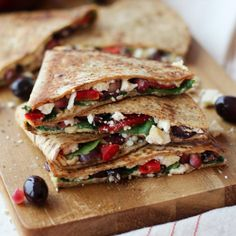 Hummus Quesadilla with Pomegranate and Feta - Fitnessmagazine.com