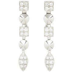 Preowned Bulgari Lucea Diamond Gold Dangle Earrings (€2.825) ❤ liked on Polyvore featuring jewelry, earrings, dangle earrings, multiple, diamond dangle earrings, gold diamond earrings, gold earrings, 18 karat gold earrings and clip earrings