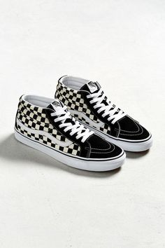 6d74de3322 Urban Outfitters Vans Sk8-Mid Checkerboard Sneaker - Black + White