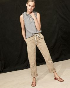 J.Crew women's ruffle top in striped cotton poplin, boyfriend chino pant and strappy leather sandals.