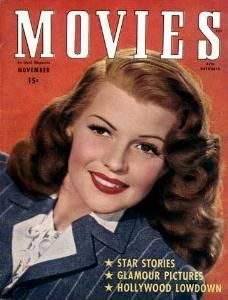 "Rita Hayworth on the front cover of ""Movies"" magazine, USA, November 1946."