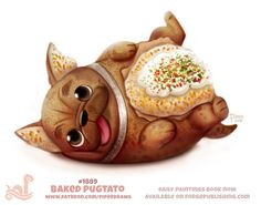 Daily Paint Baked Pugtato by Cryptid-Creations on DeviantArt Cute Food Drawings, Cute Animal Drawings, Kawaii Drawings, Animal Puns, Animal Food, Cute Chibi, Kawaii Art, Cute Funny Animals, Food Illustrations