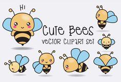 Prime Vector Clipart - Kawaii abeilles - abeilles mignons Clipart Set - vecteurs…