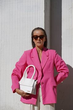 Rosa Blazer Outfits, Pink Outfits, Colourful Outfits, Colorful Fashion, Summer Outfits, Zara, Blazer Fashion, Fashion Outfits, Look Fashion