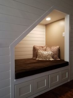 Foyer Closet Converted To An Under-Stairs Reading Nook Under Stairs Nook, Living Room Under Stairs, Bed Nook, Loft Interior Design, Basement Makeover, Loft Interiors, Staircase Design, Home Remodeling, New Homes