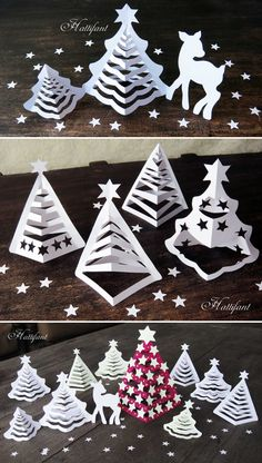 Hattifant's Paper Christmas Trees Make your own Paper Christmas Trees with a few cuts. Turn a Tree into a Paper Christmas Tree. Christmas Tree Paper Craft, Christmas Tree Template, Paper Christmas Decorations, Christmas Origami, Christmas Crafts For Kids, Christmas Projects, Kids Christmas, Holiday Crafts, Christmas Gifts