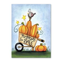 Trademark Art 'Pumpkin Cart' by Jennifer Nilsson Graphic Art on Wrapped Canvas Size: Fall Canvas Painting, Autumn Painting, Autumn Art, Autumn Garden, Tole Painting, Painting Prints, Fine Art Prints, Fall Paintings, Scarecrow Painting