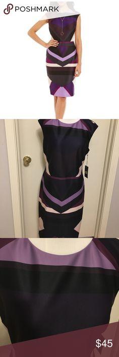"Vince Camuto purple geometric Ponte Sheath Dress New. Knee length. Fully lined. Cap sleeve. Shades of purple geometric shaped . Bust 38"". Waist 33"". Shoulder to hem length 41"" Vince Camuto Dresses"