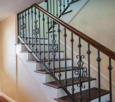 Love the simple rustic iron staircase Wrought Iron Stair Railing, Metal Stairs, Staircase Railings, Staircase Ideas, Banisters, Interior Stair Railing, Stair Railing Design, Rustic Stairs, Double Staircase