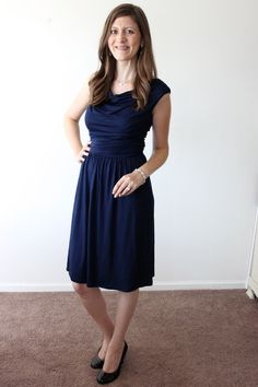 navy Kadence Cowl Drape Front Dress from Gilli - Stitch Fix.  Great length for work.  Would this be too clingy on a post-baby tummy?