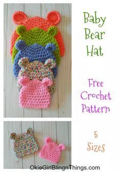 Fantastic Pictures Crochet baby hats Popular Baby Bear Hat 5 Sizes – Free Crochet Pattern – OkieGirlBling'n'Things Crochet Baby Hats Free Pattern, Bonnet Crochet, Crochet Baby Clothes, Crochet Gloves, Crochet For Kids, Crocheted Baby Hats, Crochet Preemie Hats, Booties Crochet, Easy Crochet Baby Hat